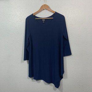 Clara Sun Woo Solid Blue Printed Asymmetrical Top